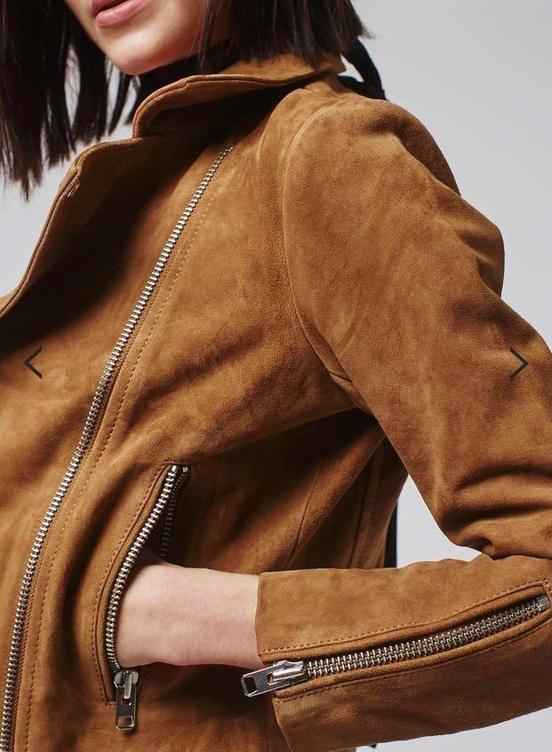 Topshop brown suede moto jacket size US 2