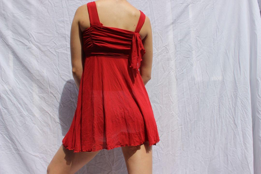 Upcycled red flowy babydoll dress