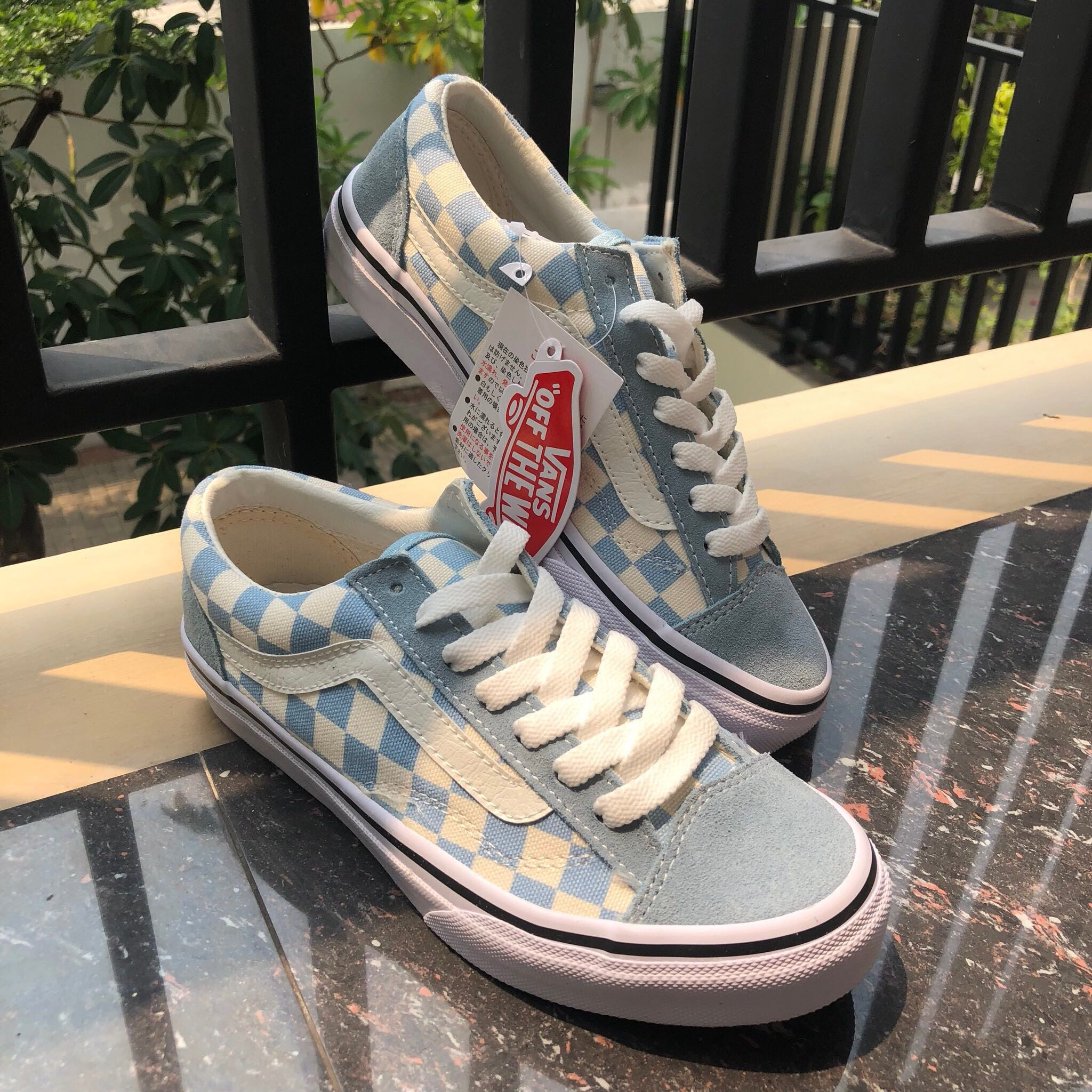 "344abf14c5 Vans Oldskool V36OG checkerboard soft blue ""japan market"""