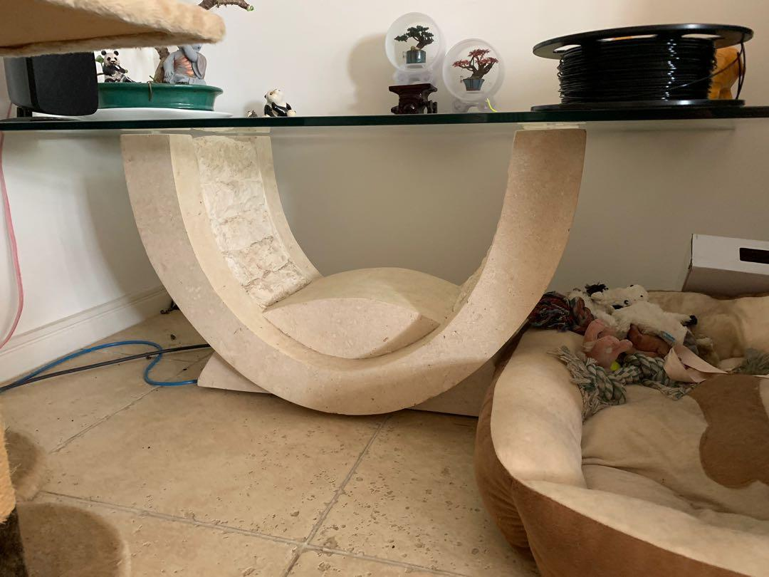Various Fossil Stone and Glass furniture