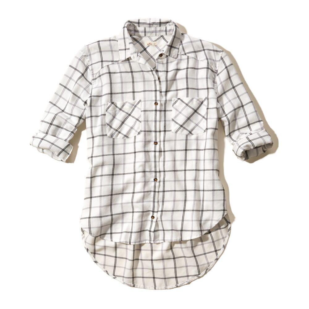 White Plaid Button up shirt