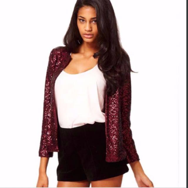 (Wine Red Colour)Long Sleeve O-Neck Sequins Button Casual Short Coat