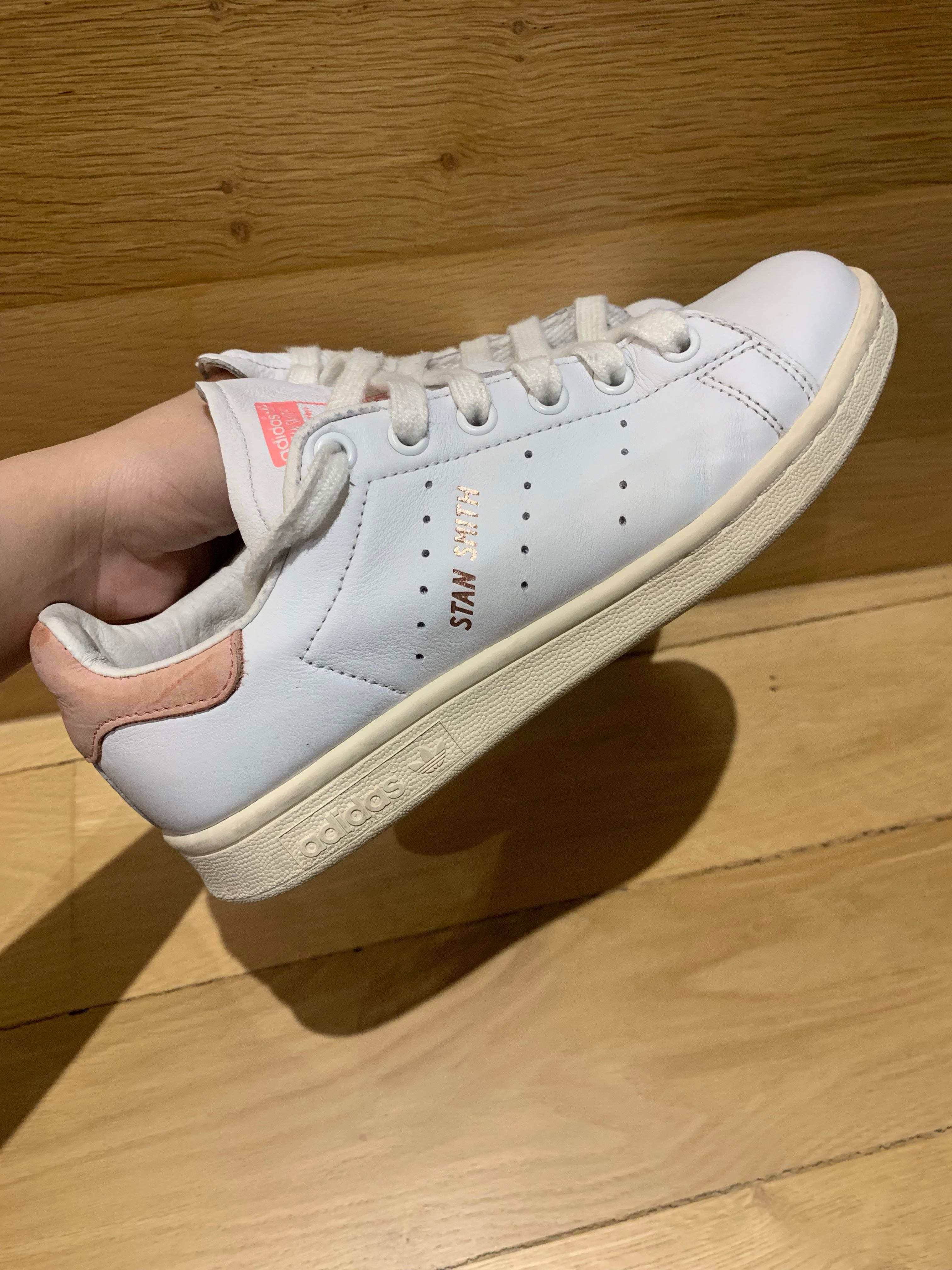 c668e8f54f2883 Women s Adidas Stan Smith White White Ray Pink Suede (Used)