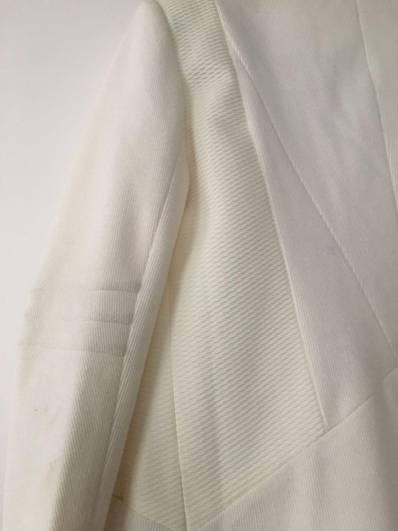 Y.A.S thick white ponte blazer coat jacket - Sz 10 - RRP $150