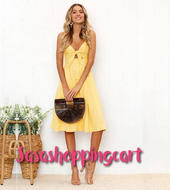 (Yellow) Australian style solid color high waist suspender skirt straps holiday long dress summer