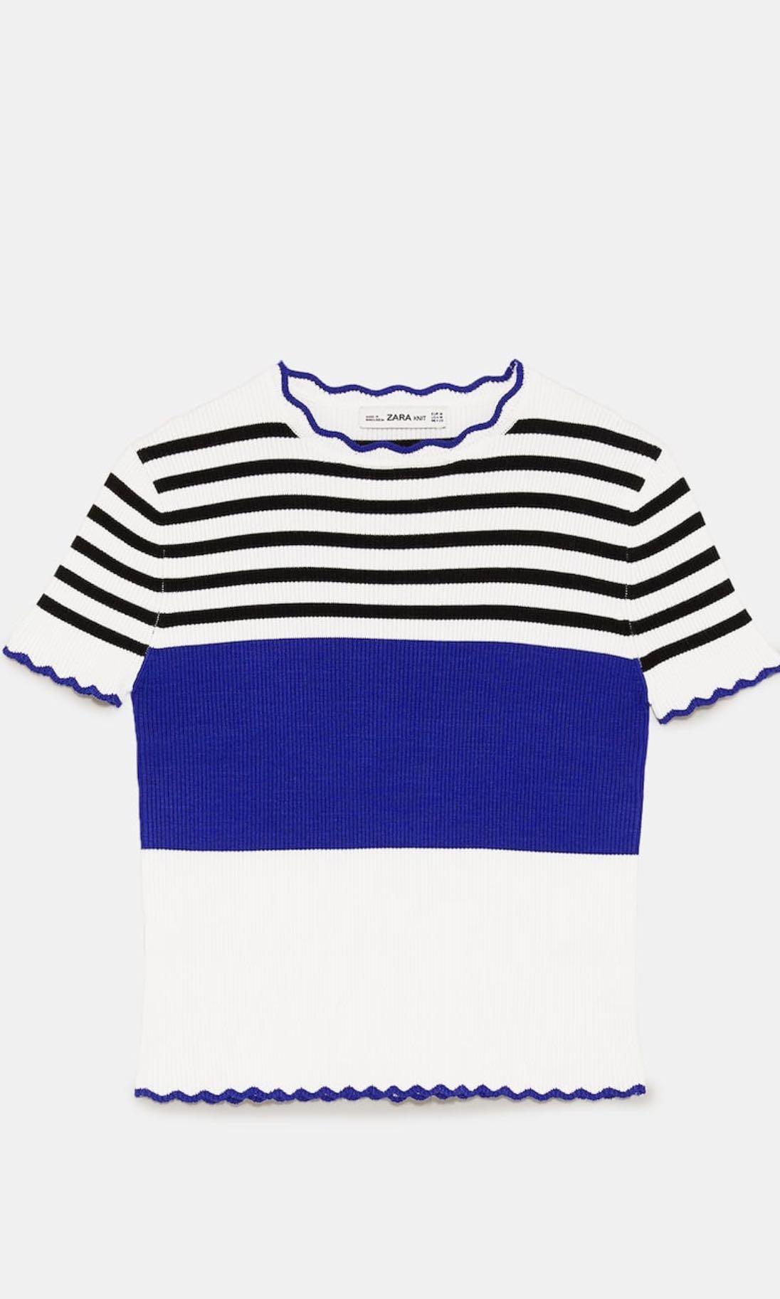 Zara striped sweater with scallop trims