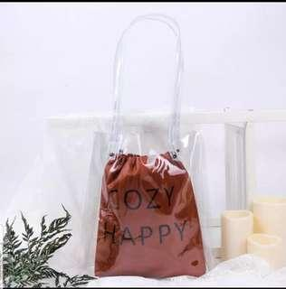 Cozy happy tote bag - brown