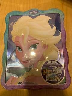 贴纸 Elsa frozen 全新低放 鐵盒連玩具