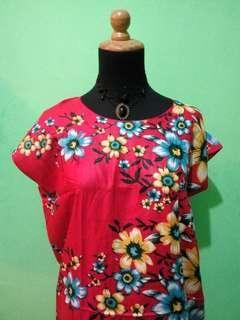 Daster Cantik Merah motif bunga