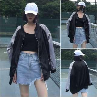 korean ulzzang black and white bomber jacket