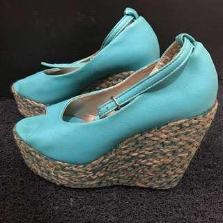 Teal Wedge Heels