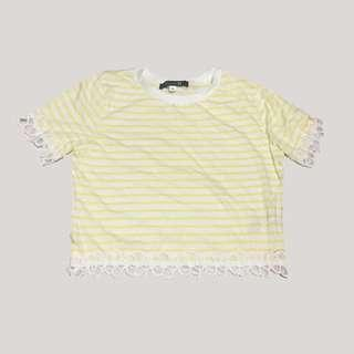 Forever 21 Striped Floral Trim Tee