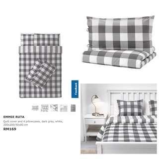 Ikea (Queen) Emmie Ruta Quilt Cover, Dark Grey / White (200x200cm)