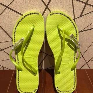 🚚 havaianas 全新巴西天然橡膠水鑽夾腳拖37-38cm