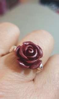 天然紫朱砂立體玫瑰花+925銀珠戒指(戒圍可指定)