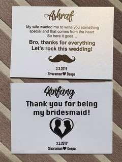 Groomsmen and Bridesmaid Card