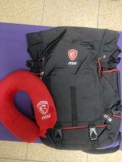 🚚 全新@MSI電競大容量防水材質筆電後背包(送旅遊頸枕)