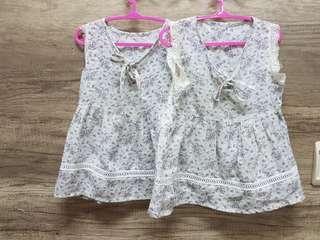 🚚 兩件40雙胞胎 二手衣  背心長上衣 薄洋裝 蕾絲 90cm
