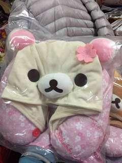 🚚 7-11 《櫻花小白熊連帽式U型頸枕~限量版》搶購熱銷商品