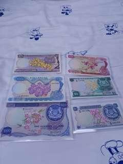 🚚 flower collection old singapore notes