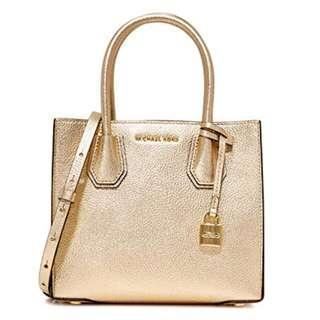 Michael Kors Gold Pebble Leather Mercer Medium Tote Bag Purse