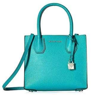 Michael Kors Tile Blue Bonded Leather Mercer Crossbody Bag Purse