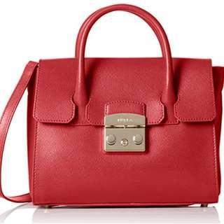 Furla Woman's Furla Metropolis Red Rubin Leather Handbag Red