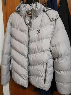 🚚 Adidas防風鋪棉加厚外套 淺灰-2XL