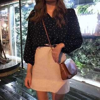 🚚 #086 korean minimalist polka dots oversized ruffle blouse