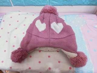 秋冬保暖球球愛心粉色毛帽