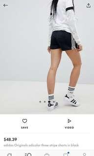 High waist three stripe adidas shorts