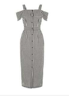 Warehouse Gingham checked Midi Dress