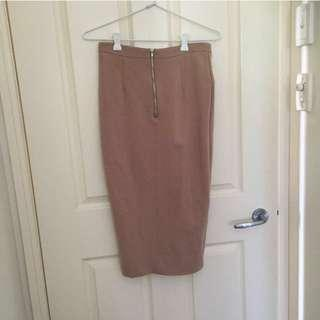 Bardot Nude High Waisted Long Tight Skirt