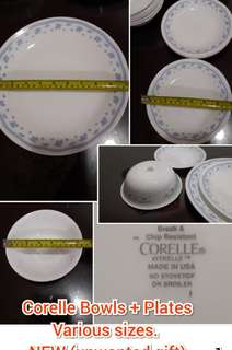 CORELLE Plates & Bowls made in USA