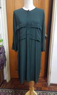 H&M Long blouse/ dress in Dark Green