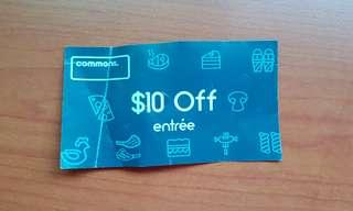 Commons $10 Off Entree