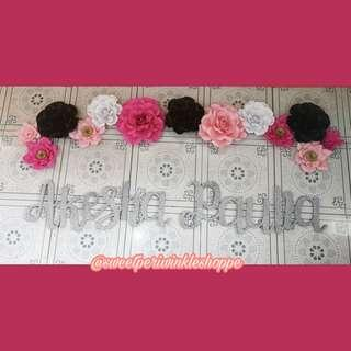 MTO Barbie Themed Paper Flowers x Styro Name Backdrop