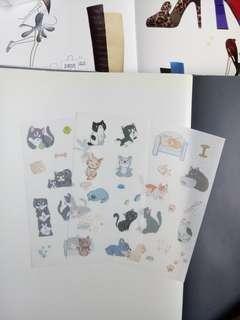 Gorgi Dog and cats Washi stickers 3 Sheets