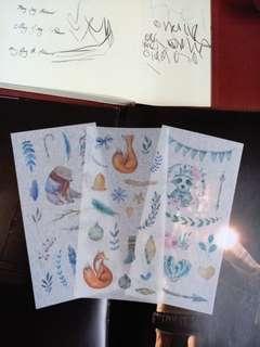 Washi Animals Sticker deco 3 Sheets