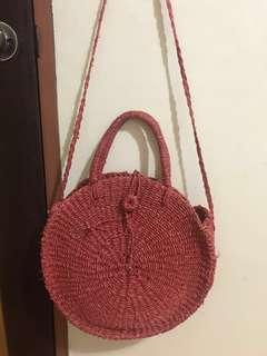 SALE! Round Bali Abacca/Rattan Native Sling Bag