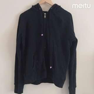 basic black zip up jacket