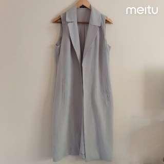 baby blue long vest coat
