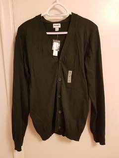 Dark green v-neck cardigan (size medium)