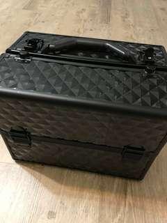 多功能帶鎖手提式化妝箱-專業菱紋工具箱-美容箱-紋眉箱-刺青箱