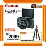 (SALE) CANON EOS-M100 + EF-M 15-45MM F/3.5-6.3 IS STM (BLACK) [FREE JOBY 1K GORILLAPOD & 16GB CARD & CAMERA BAG] (ONLINE REDEMPTION RM300 CASHBACK]  Warranty: 1 + 1 Year (Body Only) by Canon Malaysia