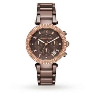 eb735689cdf7 BN Michael Kors MK6378 Women s Ladies Brown Parker Chronograph Watch