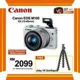 (SALE) CANON EOS-M100 + EF-M 15-45MM F/3.5-6.3 IS STM (WHITE) [FREE JOBY 1K GORILLAPOD & 16GB CARD & CAMERA BAG] (ONLINE REDEMPTION RM300 CASHBACK]
