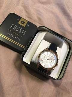 Fossil gold watch with navy strap