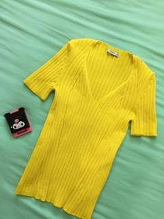Bumble Bee Yellow V neck Top (Mango)-Knitted