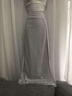 Grey long split skirt